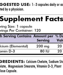 Calcium 200 mg - Bio-Max Series - Hypoallergenic - 120 capsules - INGREDIENTS