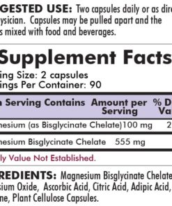 Buffered Magnesium Bisglycinate - Bio-Max Series – Hypoallergenic - 180 capsules - INGREDIENTS