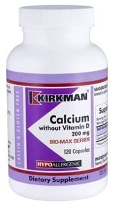 Calcium 200 mg without Vitamin D - Bio-Max Series - Hypoallergenic - 120 capsules