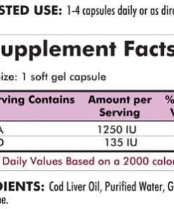 Cod Liver Oil with Vitamins A & D - 300 gel caps - INGREDIENTS
