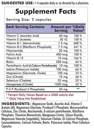 Nu-Thera® without Vitamins A & D - Hypoallergenic - 300 capsules - INGREDIENTS