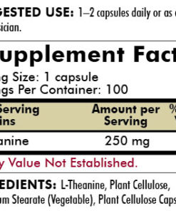 L-Theanine 250 mg - Hypoallergenic - 120 capsules - INGREDIENTS