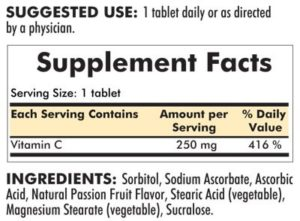 Vitamin C 250 mg Chewable Tablets with Sucralose - 250 chewables - ingredients